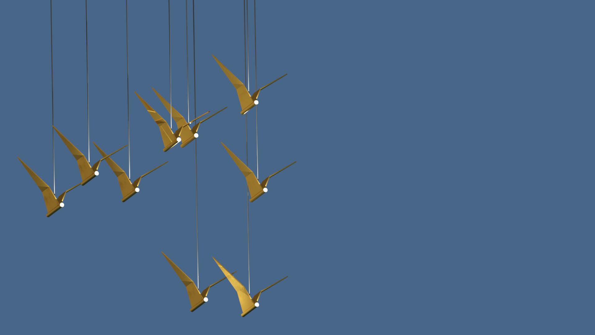 дизайнерская люстра из латуни птицы