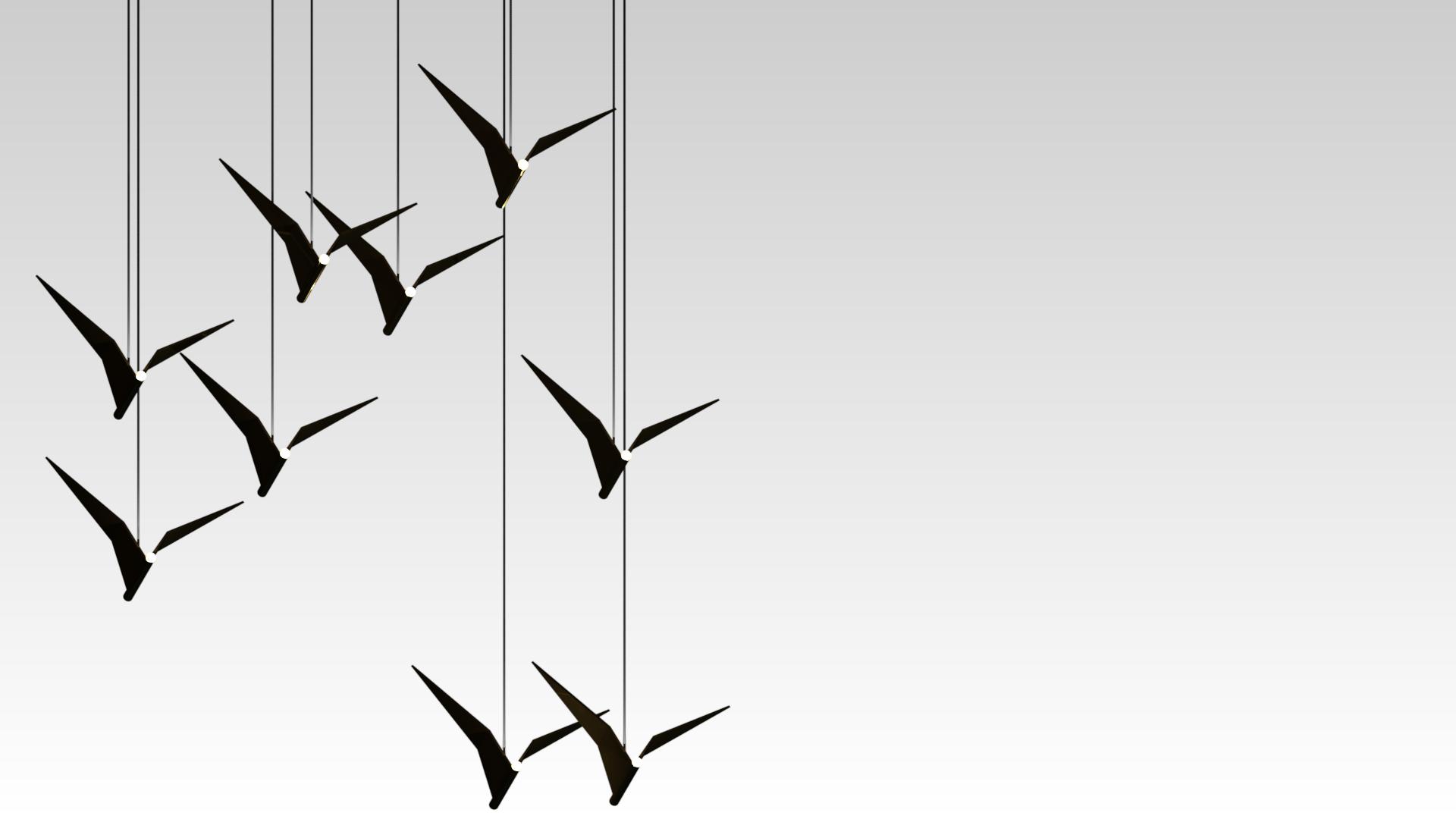 дизайнерский подвесной светильник птица из состаренной латуни