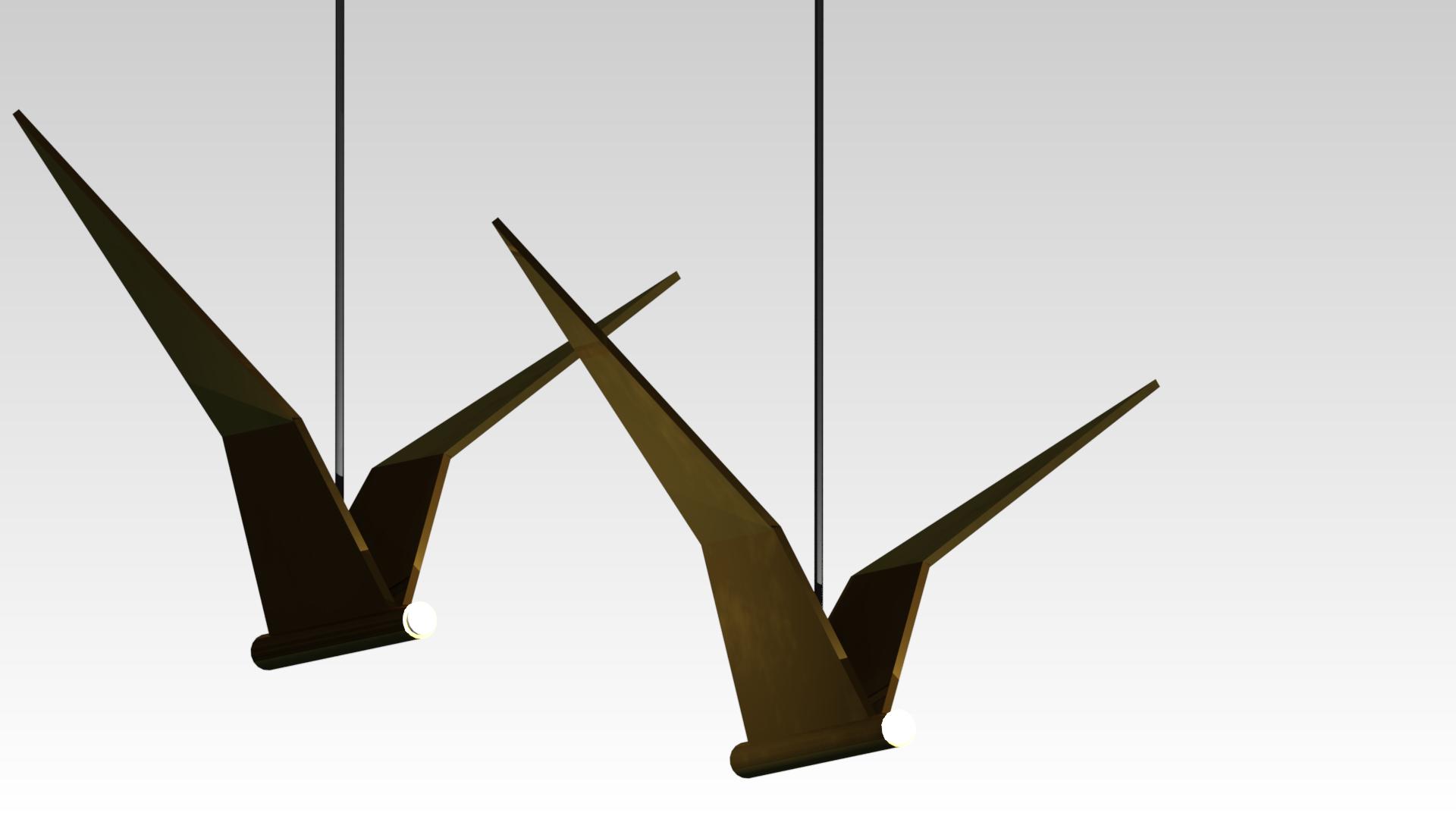 дизайнерский светильник птица черненая латунь