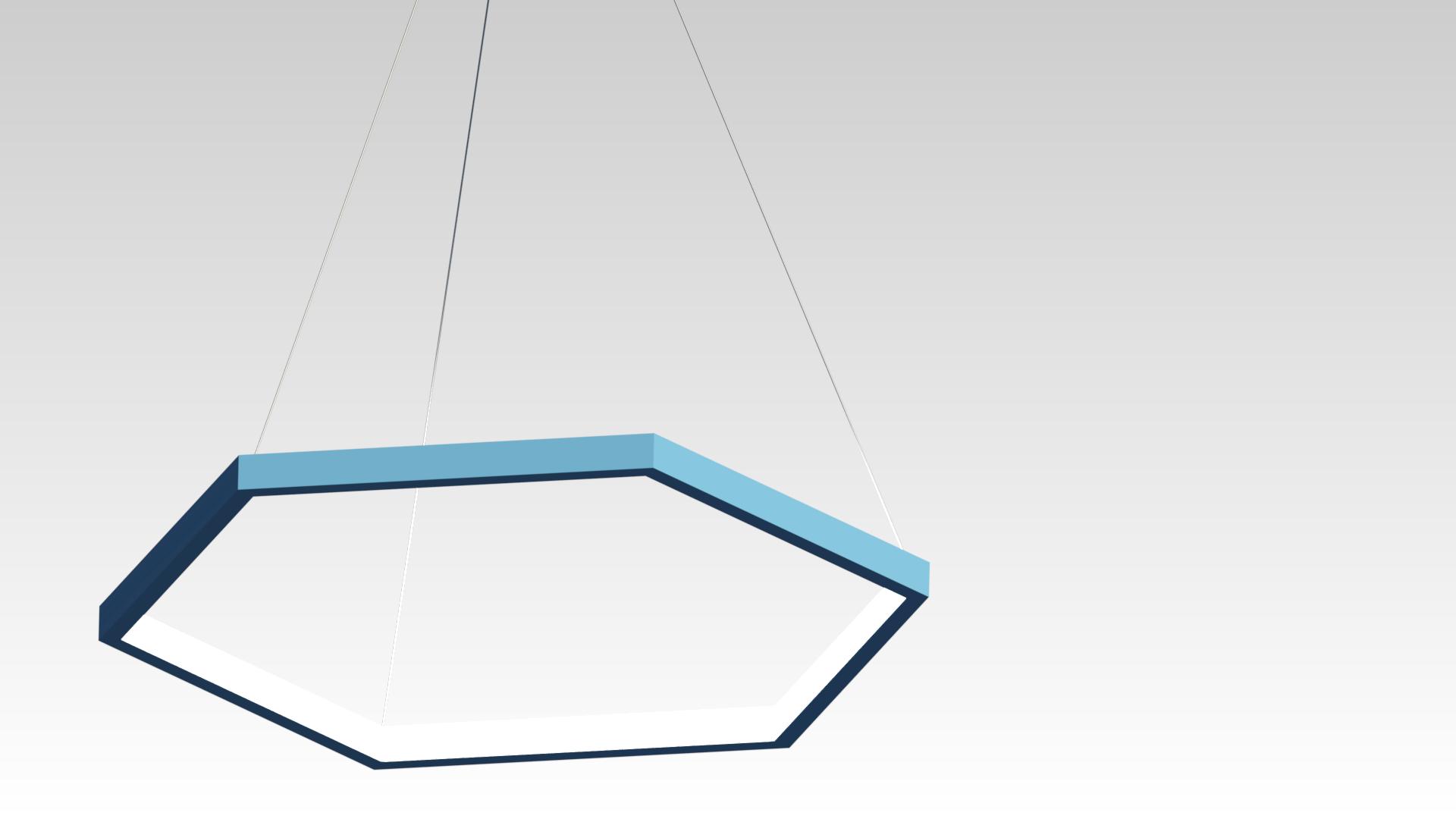 голубая шестиугольная люстра