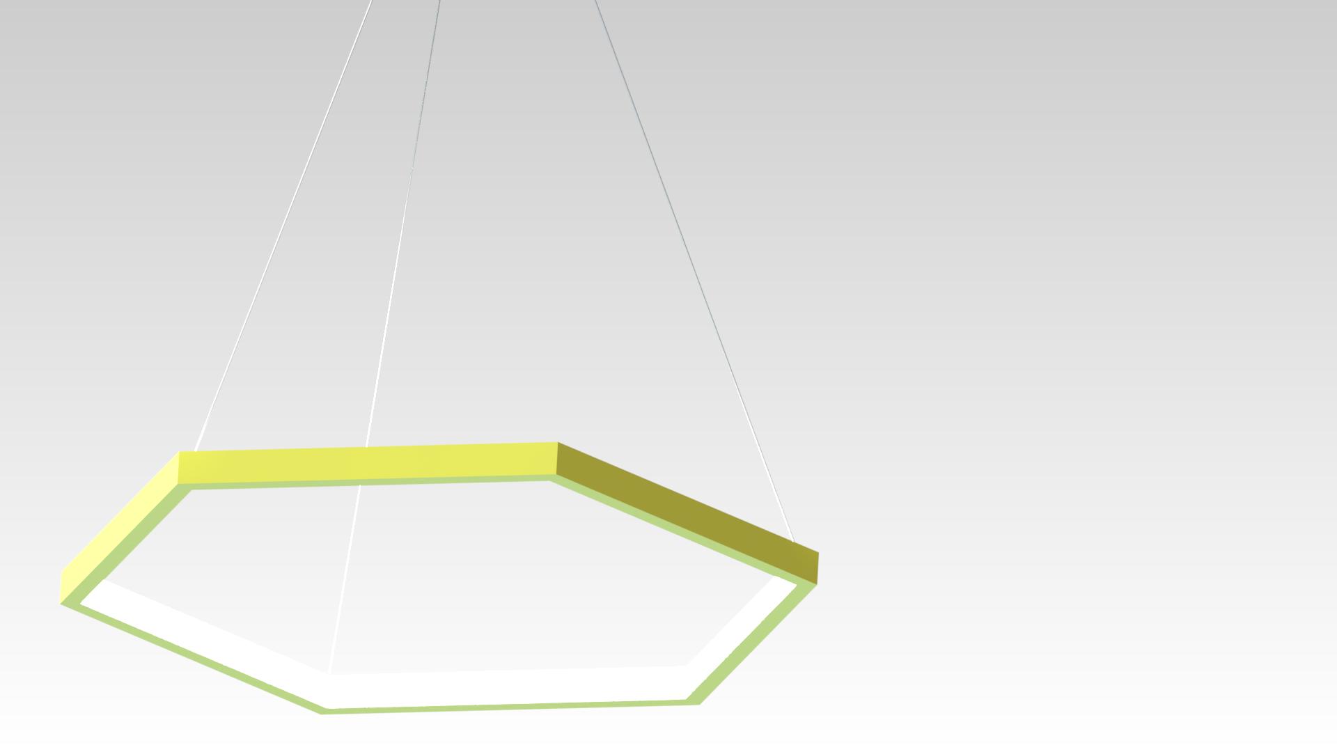 люстра шестиугольник светодиодная на подвесах желтая