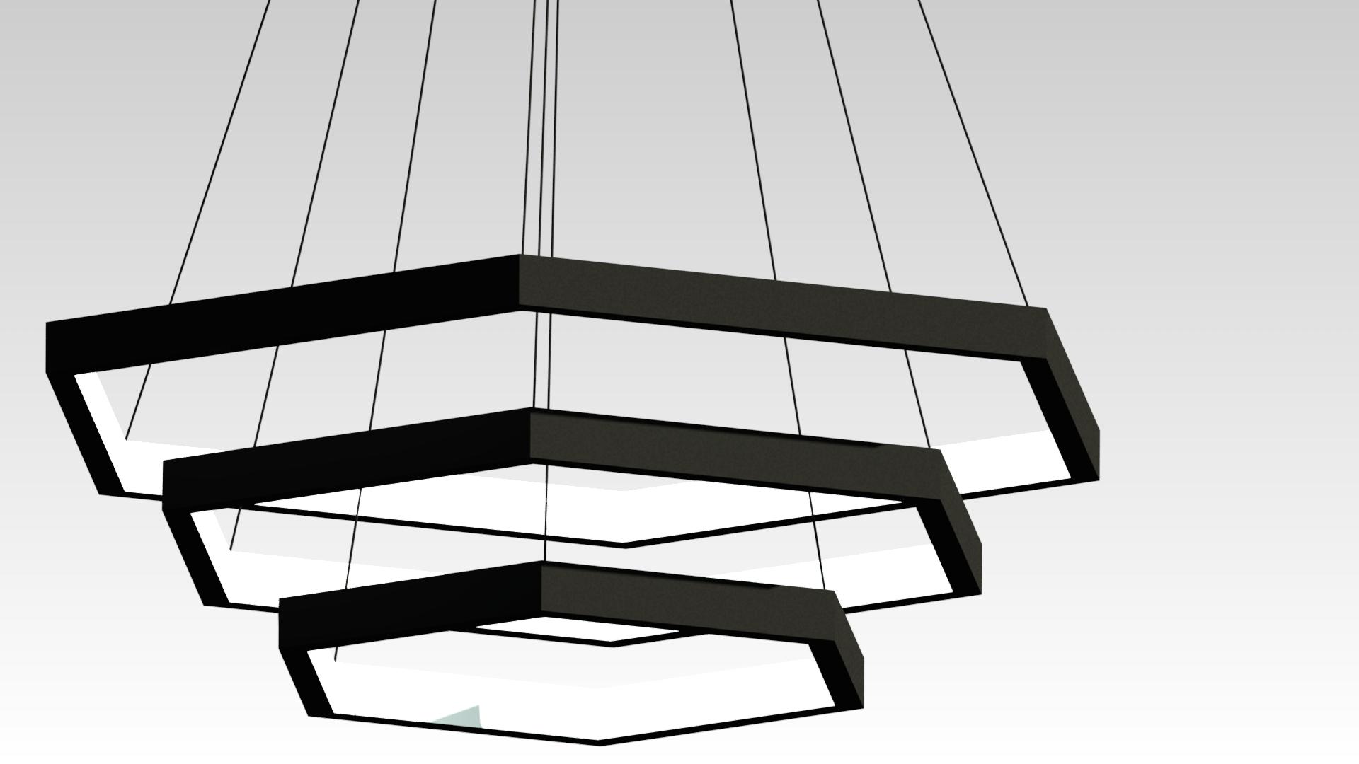 черная светодиодная люстра на подвесах